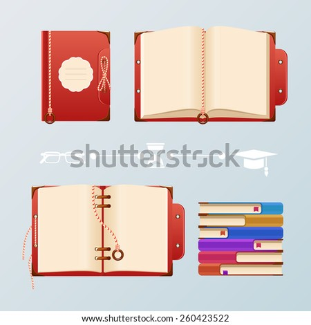Vintage colored books and notebooks for recordings. Vector illustration. - stock vector