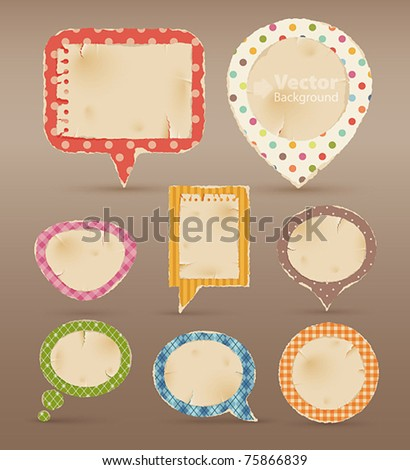 Vintage colorful bubbles for speech. Vector illustration - stock vector