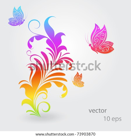Vintage colorful floral background with butterflies. - stock vector
