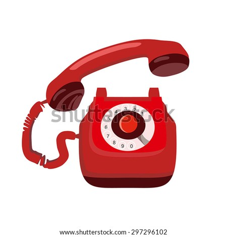Vintage Colorful Retro Telephone. Telephone vector icon. Red phone. Isolated on white background.