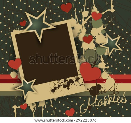 Vintage colors photo frame for just married couple or couple in love.Vector photo frame template with red hearts and green stars.