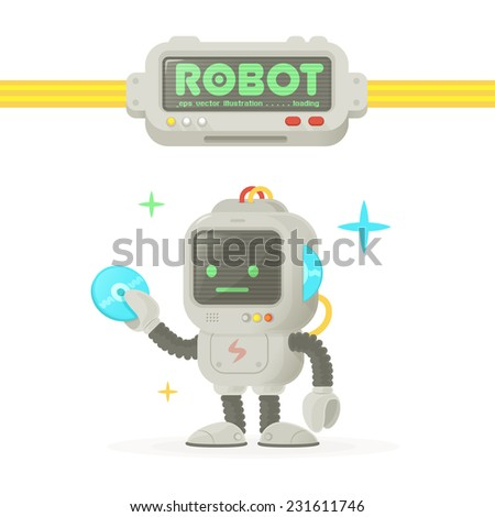Vintage Comic Retro Computer Tv Robot with compact disc data driver in his hand with logo gadget template Vector Illustration isolated on white - stock vector