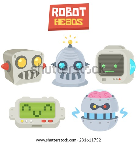 Vintage Comic Retro Vector Illustration Computer Robot Heads logo icons set template isolated on white - stock vector