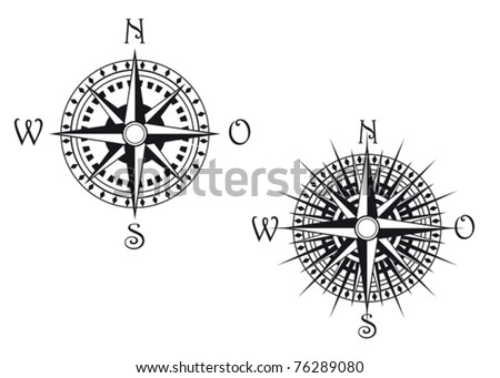 Vintage compass symbols isolated on white for design. Jpeg version also available in gallery - stock vector