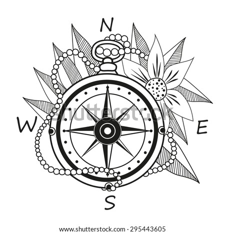 Vintage Compass With Flowers And Leaves Vacation Tourism Icon Black White Vector