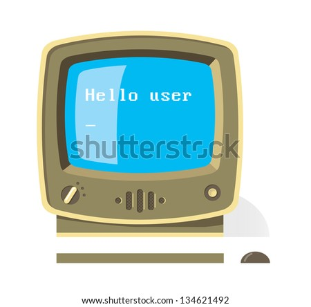 Vintage computer monitor with keyboard and mouse with Hello user message on screen. Artificial Intelligence ( AI ) concept illustration. - stock vector