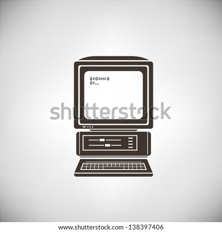 vintage computer, old computer, - stock vector