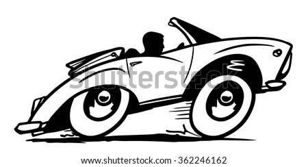 Vintage convertible in black and white. Vector illustration - stock vector