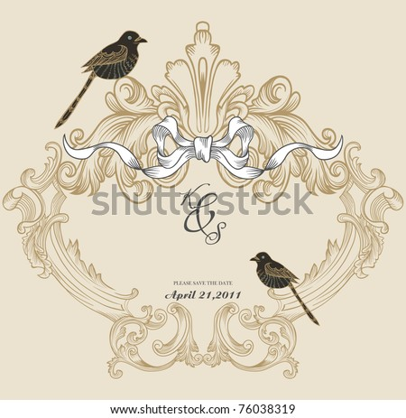 vintage cover design- best for scrapbook project - DIY- wedding invitation card - stock vector