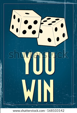 Vintage craps gambling poster with grunge effects - stock vector