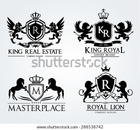 Vintage Crests logo collection,emblem collection,real estate logo,crests with crown lion and house, full vector logo template - stock vector