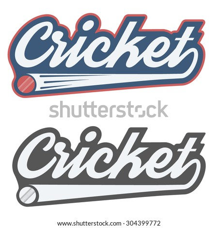 Vintage cricket label and badge. Vector Illustration isolated on white background.