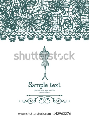 Vintage crochet and mannequin sewing card - stock vector
