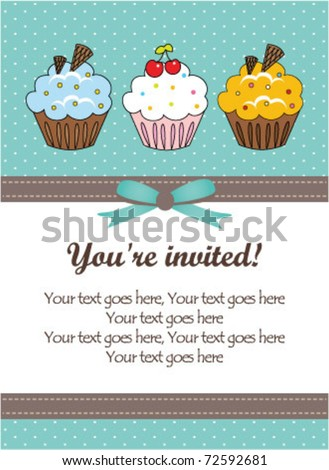 Vintage cupcake card - stock vector