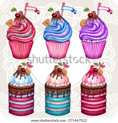 Vintage cupcake collection.Vectorized watercolor drawing.Poster set design. Hand-drawn watercolor cake. Isolated on white background.Cherry, waffles and chocolate cream.Vector abstract background.   - stock vector