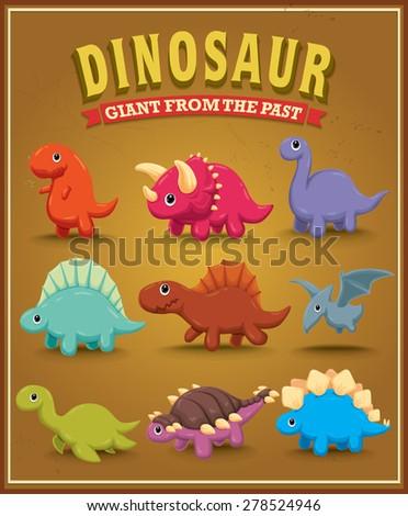 Vintage cute dinosaur character poster design - stock vector