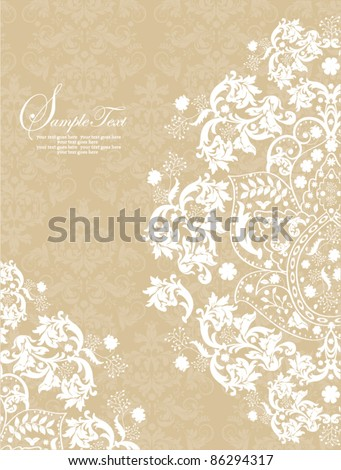 vintage damask invitation card - stock vector