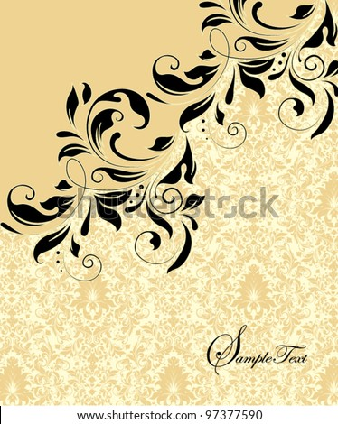 vintage damask invitation card