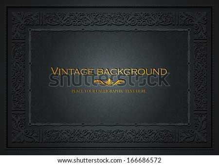 Vintage dark background, antique style frame, Victorian ornament, beautiful brochure, certificate, award's and diploma's layout, book cover, floral luxury ornamental pattern, achievement template - stock vector
