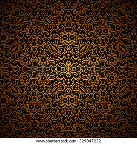 Vintage dark gold background with swirly lattice ornament, vector seamless pattern