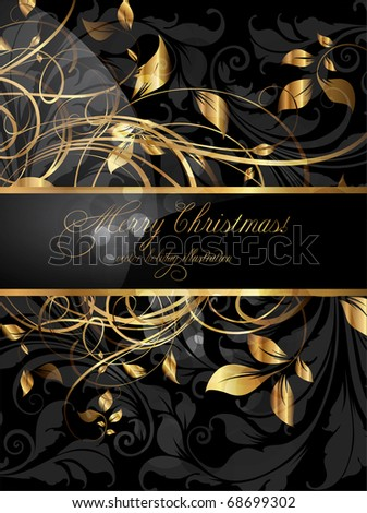 Vintage dark golden card with seamless ornament at background - stock vector