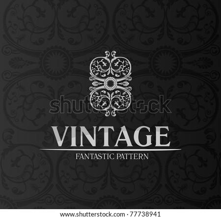 Vintage decor label ornament background emblem. vector black - stock vector