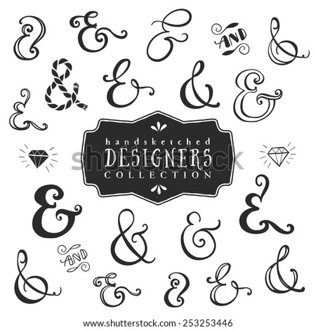 Vintage decorative ampersands collection. Hand drawn vector design elements. - stock vector