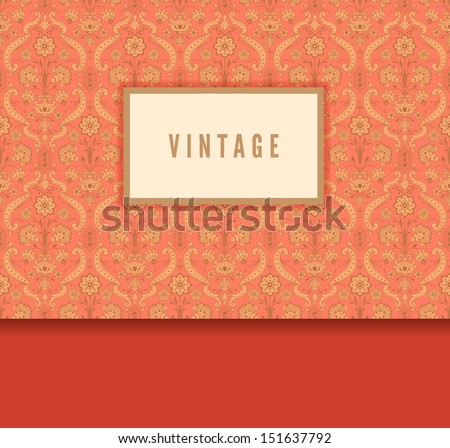 Vintage decorative card with stylized flowers. - stock vector
