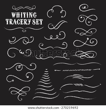 Vintage decorative curls and swirls collection on black background.Tracery chalk set. Hand drawn vector design elements - stock vector
