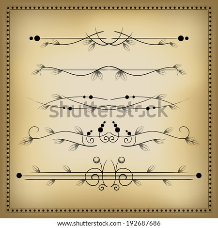 Vintage decorative elements and dividers 3. Vector illustration. - stock vector