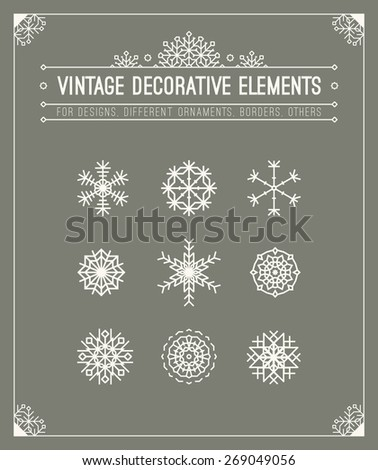 Vintage decorative elements. Floral ornamental patterns. Retro style insignias. Calligraphic frame. Graphic design template for logotype, badge, placeholder, banner, poster. - stock vector