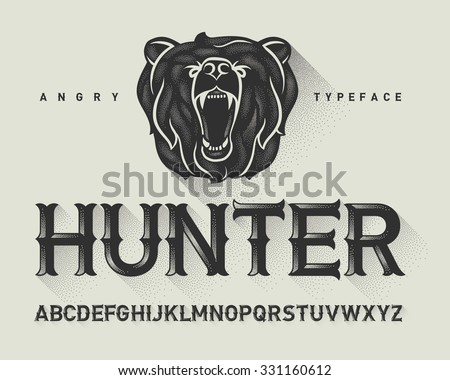 Vintage decorative modern font with dotted graphics and a wild angry bear head illustration - stock vector