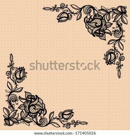 vintage decorative ornament from colors of a rose with leaves for decorating, design, decoration, your design. To decorate the angular compositions. - stock vector