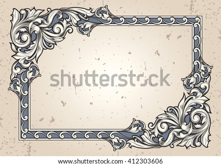 Vintage decorative ornate blank - stock vector