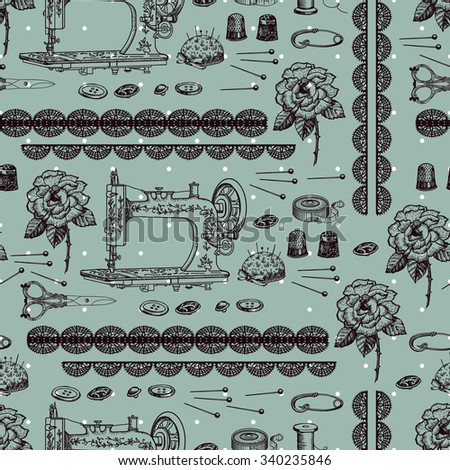 Vintage decorative pattern with  accessories for needlework. Hand drawing. Seamless for fabric design, gift wrapping paper and printing and web projects. - stock vector