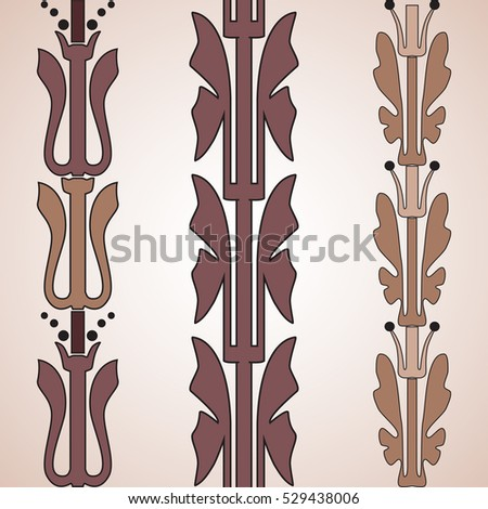 Vintage decorative set brown floral pattern seamless vertical border vector illustration isolated on white background