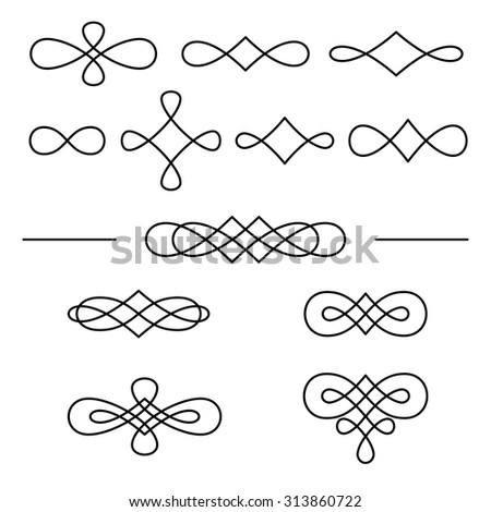 Vintage decorative swirls collection isolated on white background. Vector design elements. - stock vector