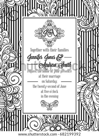 Vintage delicate formal invitation card black stock vector hd vintage delicate formal invitation card with black and white lacy design for wedding marriage stopboris Images