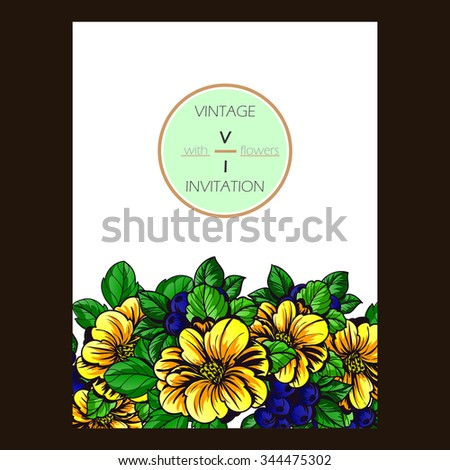 Vintage delicate invitation with flowers for wedding, marriage, bridal, birthday, Valentine's day - stock vector