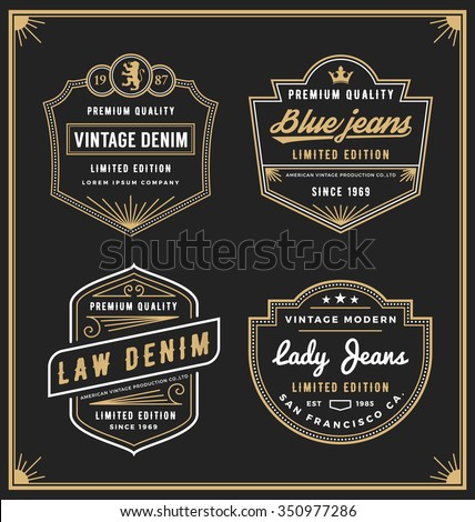 Vintage denim jeans frame logo for your business. Use for label, tags, banner, screen and printing media. Vector illustration - stock vector