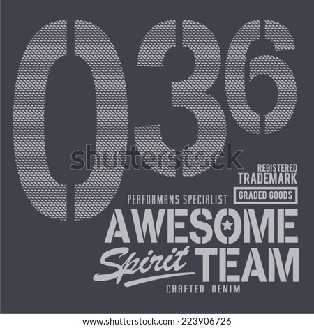 Vintage denim team, t-shirt typography, vectors - stock vector