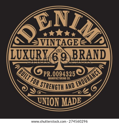 Vintage denim typography, t-shirt graphics, vectors - stock vector