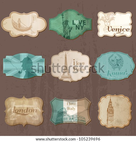 Vintage Design City Elements for Scrapbook - Old tags and frames in vector - stock vector