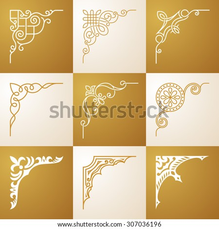 Vintage design elements Corners vector illustration set - stock vector