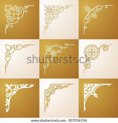 Vintage design elements Corners vector illustration set - stock vector