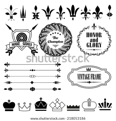 Vintage design elements -fleur-de-lis, crowns, shield, arrows - stock vector