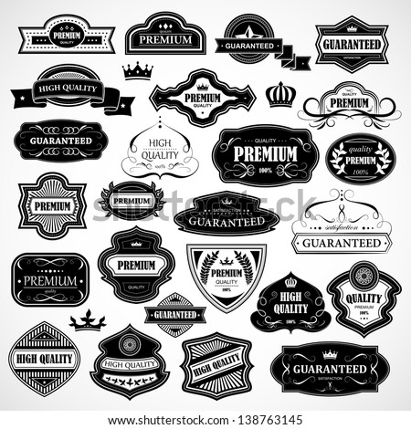 Vintage Design Elements Labels In Retro And Style Isolated On Background Vector Illustration