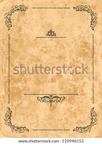 Vintage design elements on old paper sheet - stock vector