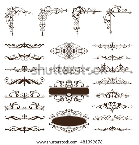 Vintage design elements ornaments Corners frames borders dividers, book isolated on white background