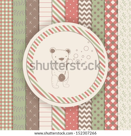 Vintage Design Elements: Scrapbook teddy bear collection - stock vector